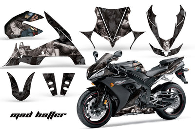 Yamaha R1 '04-'05 Mad Hatter in Black background Silver Design
