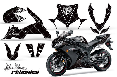 Yamaha R1 '04-'05 Reloaded in Black Background with White Design