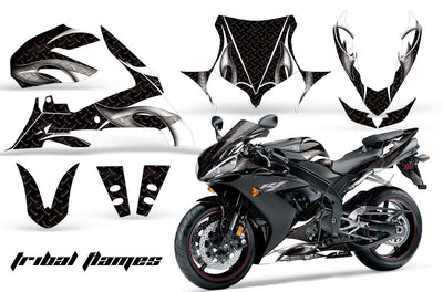 Yamaha R1 '04-'05 Tribal Flame Black Background White Design