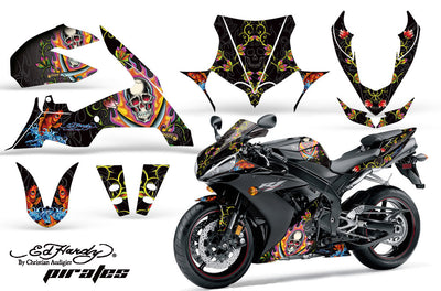 "Yamaha R1 '04-'05 Ed Hardy ""Pirates"" Black Design Color"