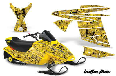 Ski Doo Mini Z Sled '03-'08 Skulls & Butterflies Yellow Background Black Design