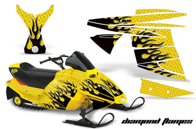 Ski Doo Mini Z Sled '03-'08 Diamond Flame Silver Background Black Design