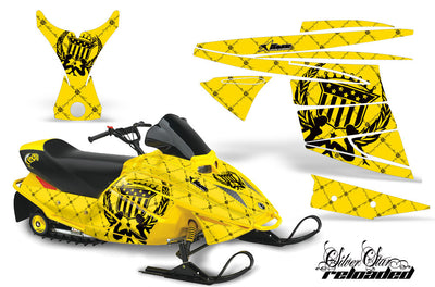 Ski Doo Mini Z Sled '03-'08 Reloaded in Yellow Background Black Design