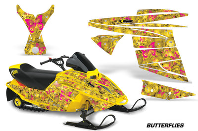 Ski Doo Mini Z Sled '03-'08 Skulls & Butterflies Yellow Background Pink Design