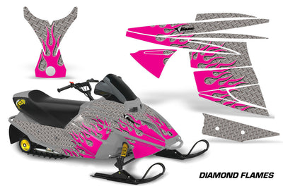 Ski Doo Mini Z Sled '03-'08 Diamond Flame Silver Background Pink Design