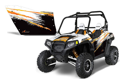Polaris RZR 800 2 Door Graphic Kit for OEM Polaris Doors - Robbie Gordon Orange