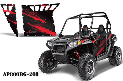 Polaris RZR-S 800 Side x Side Graphic Kit for Pro Armor Doors - Carbon Red