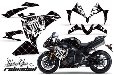 Yamaha R1 '10-'12 Reloaded Black Background White Design