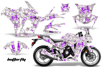 Skulls & Butterflies in White Background Purple Design