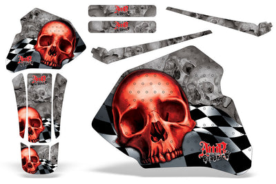 Checkered Skull - Silver Background Red Design (85-00)