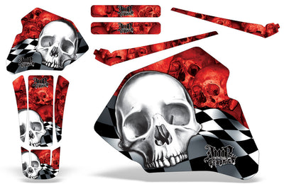 Checkered Skull - Red Background White Design (85-00)