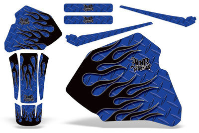 Diamond Flames - Blue Background Black Design (85-00)