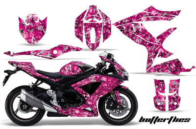 Skulls & Butterflies in Pink Background White Design