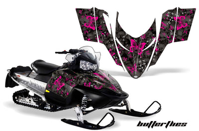 Skulls & Butterflies in Black Background Pink Design