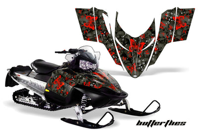 Skulls & Butterflies in Black Background Red Design