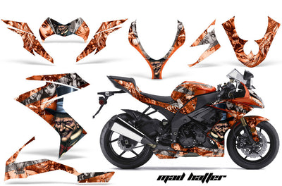 Kawasaki ZX10 Ninja '08-'09 Mad Hatter in Orange Background with Silver Design