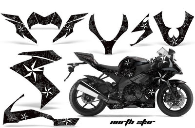 Kawasaki ZX10 Ninja '08-'09 North Star in Black Background with White Design