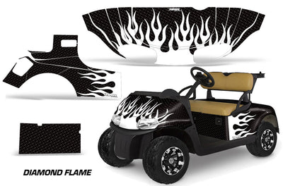 Diamond Flames - Black Background White Design