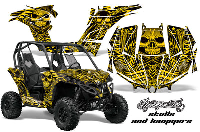 Hunnington Ink Skulls & Hammers - Yellow Design