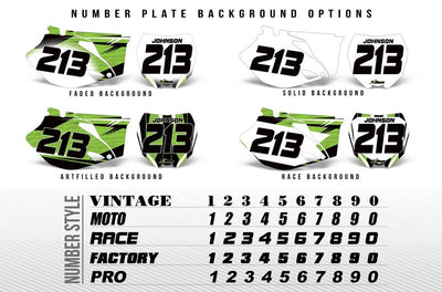 OPTIONAL Number Plates - Style Chart