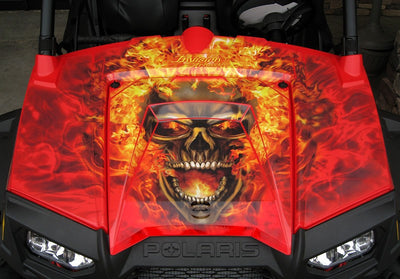 Nitro - Red Background Natural Fire Design - Hood View