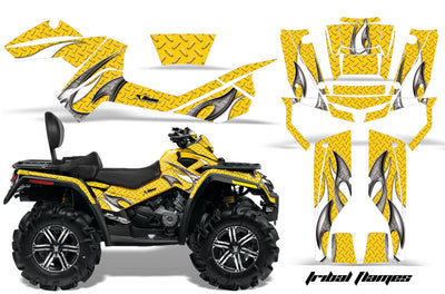Tribal Flames - Yellow Background White Design