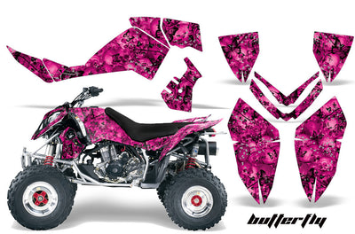 Skulls & Butterflies - Pink Background Black Design