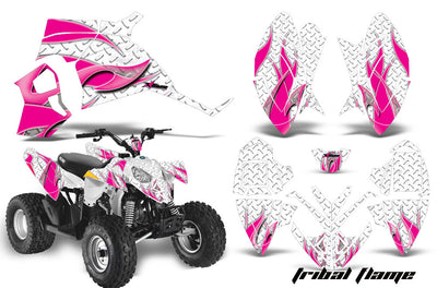 Tribal Flames - White Background Pink Design