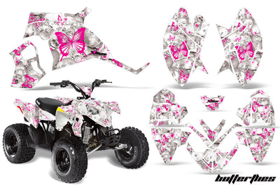 Butterflies & Skulls - White Background Pink Design