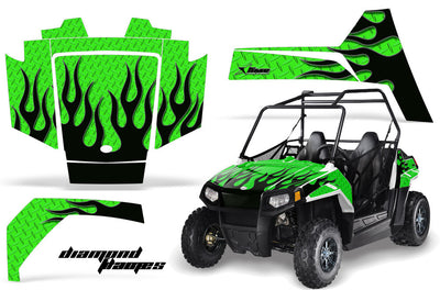 Diamond Flames - BRIGHT GREEN background BLACK design