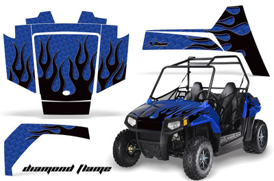 Diamond Flames - BLUE background BLACK design
