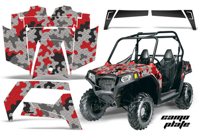 Camo Plate - Black Background, Red Design