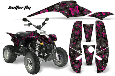 Skulls & Butterflies - Black Background Pink Design