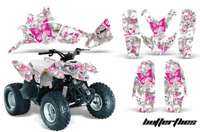 Skulls & Butterflies - White Background Pink Design
