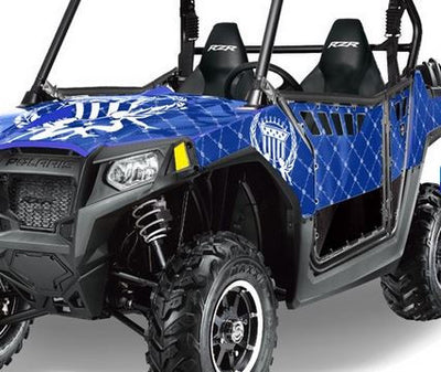Reloaded in Blue Background White Design on a RZR800 2011