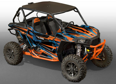 Racer-X - Black Background, Orange & Blue Design