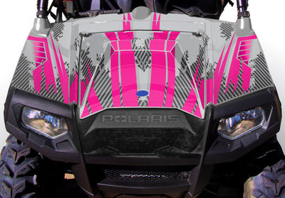 Racer X - Silver Background Pink Design - Hood View