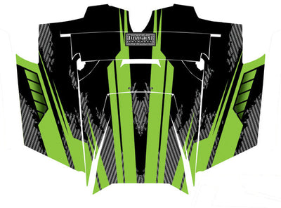 Racer X - Black Background Bright Green Design - Hood View