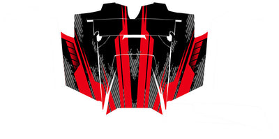Racer X - Black Background Red Design - Hood View