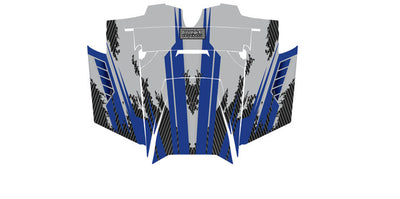 Racer X - Silver Background Blue Design - Hood View