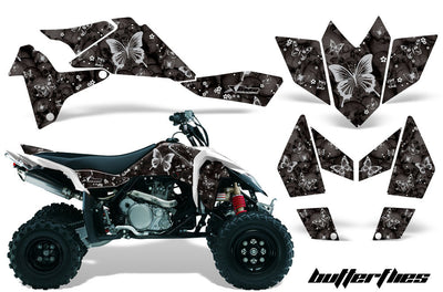 Skulls & Butterflies Black Background White Design
