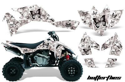 Skulls & Butterflies White Background Black Design