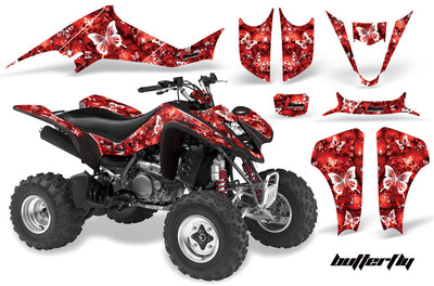 Butterflies & Skulls - Red Background White Design