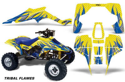 Tribal Flames - Yellow Background Blue Design