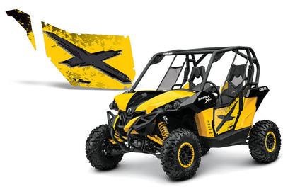 CanAm Maverick Graphic Kit for Pro Armor Doors - Yellow/Black (Yellow X)