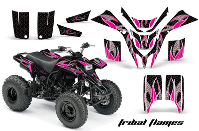 Tribal Flames - Black Background Pink Design