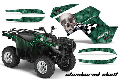 Checkered Skull - Green Background Silver Design