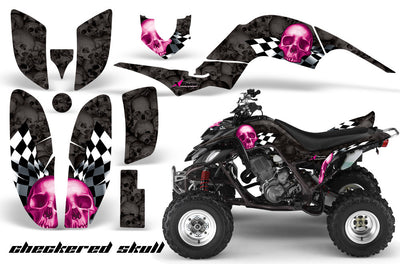 Checkered Skull - Black Background Pink Design