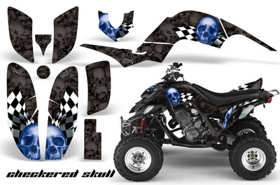 Checkered Skull - Black Background Blue Design