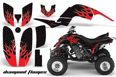 Diamond Flames - Black Background Red Design